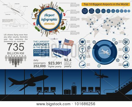 Airport, air travel infographic with design elements. Infographic template