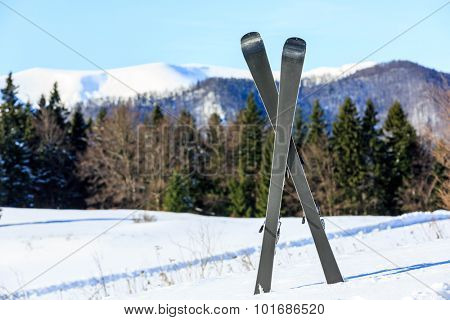 Mountain ski on snow of winter resort against forest background