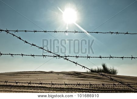 Metal barbed wire fence against bright sun in the sky.