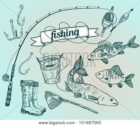 The drawn vector set: fishing. Rod, salmon, perch, bucket, fishi