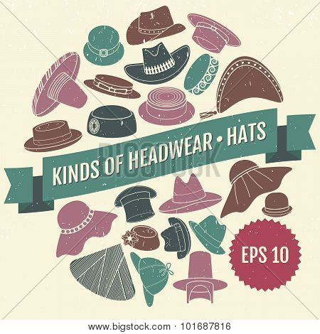 Set of vector flat hats with grunge texture