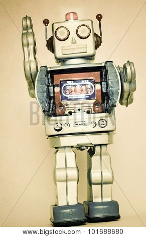 retro robot toy close up