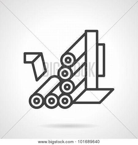 Roller conveyor simple line vector icon