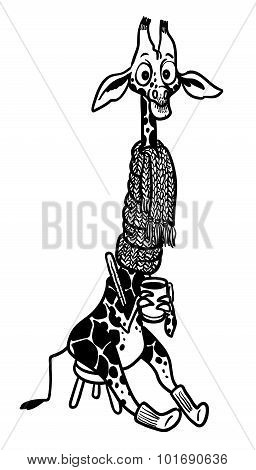 Illustration Of Cartoon Cute Giraffe