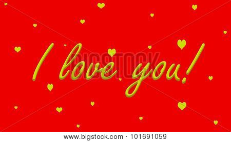 I love you! Yellow on Red With Hearts