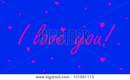 I love you! Pink on Purple With Hearts