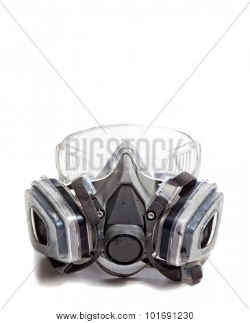 gas mask and googles on white background