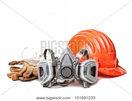 helmet protection glasses gloves and mask