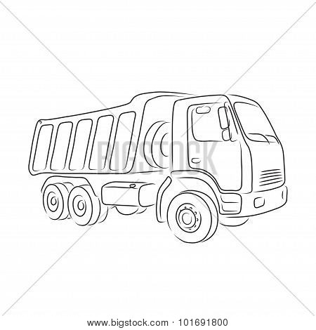 Outline of tipper, vector illustration
