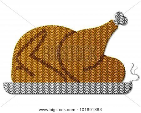Roast Turkey, Chicken Of Knitted Fabric Isolated On White Background