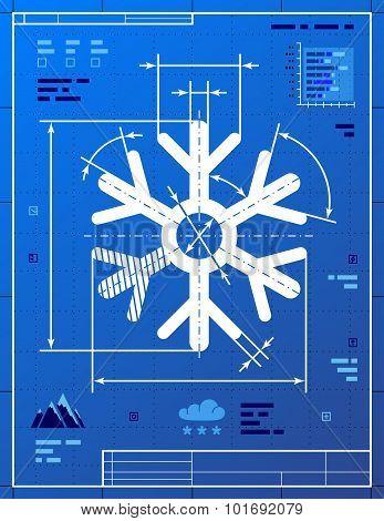 Snowflake Symbol Like Blueprint Drawing