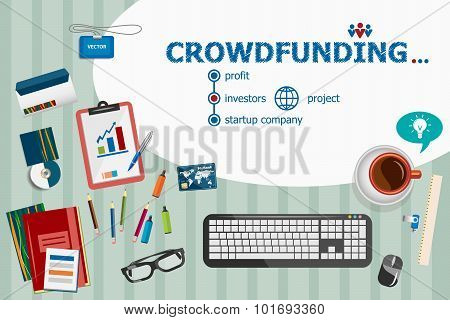 Crowdfunding Design And Flat Design Illustration Concepts For Business Analysis