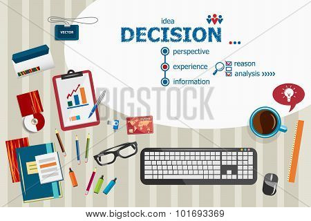 Decision Design And Flat Design Illustration Concepts For Business Analysis