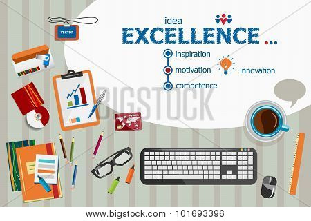 Excellence Design And Flat Design Illustration Concepts For Business Analysis