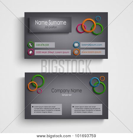 Business Card With Colored Circles Design Template