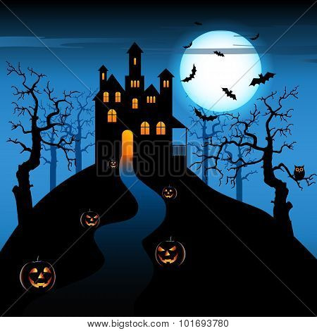 Halloween Night With Haunted Castle And Pumpkins