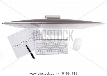 Modern Computer Monitor With Notepad