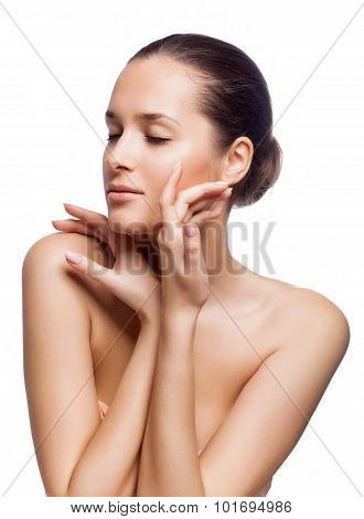 Beautiful Spa Woman Touching Her Face.