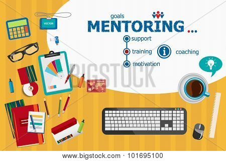 Mentoring Design And Flat Design Illustration Concepts For Business Analysis