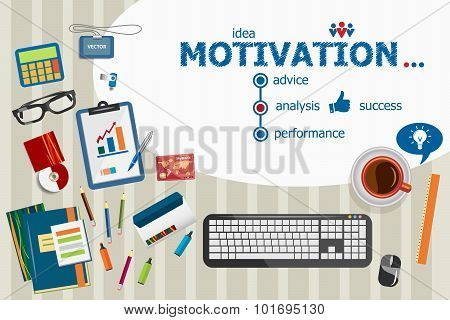 Motivation Design And Flat Design Illustration Concepts For Business Analysis