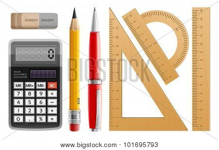 School tools for learning, pencil, pen, calculator, rulers and rubber. Eps10 vector illustration. Isolated on white background