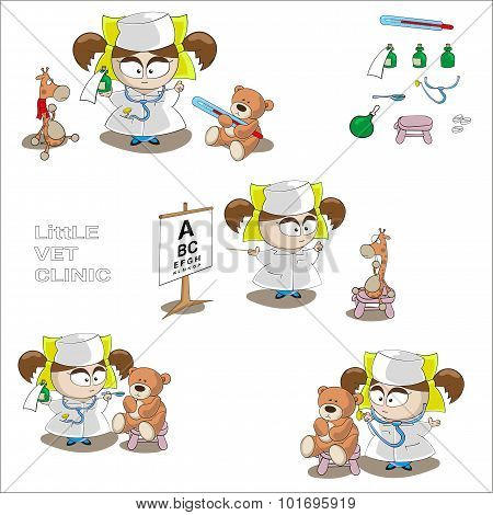 Vector Little Girl Doctor With Garaffe And Bear Toys Isolated On White Background