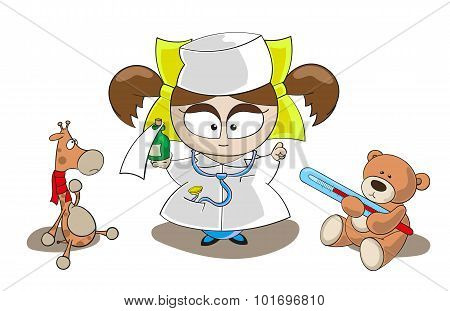 Vector Little Girl Doctor With Giraffe And Bear Toys Isolated On White Background