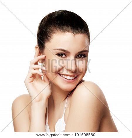 Beautiful Young Woman With Clean Skin Of The Face. Pretty Female
