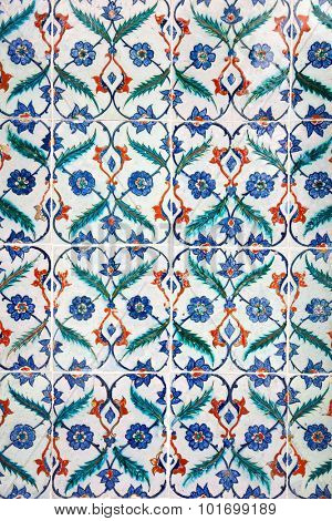 Ancient traditional handmade tiles, more than 200 years old, Islamic ornament