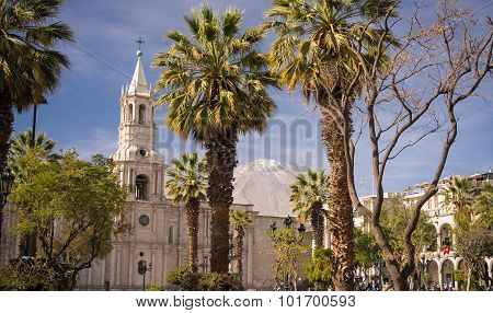 The Cathedral And Volcano In Arequipa, Peru