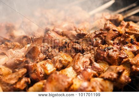 beef kababs on the grill closeup. Outdoor