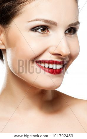 Eautiful Woman Face. Perfect Toothy Smile. Caucasian Young Girl Close Up Portrait. Red Lips, Skin, T