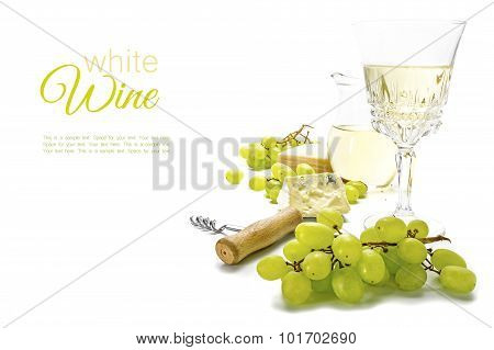 White Wine, Green Grapes And Cheese Isolated On A White Background