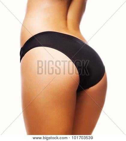 Perfect Female Sexy Buttocks In Black Lingerie