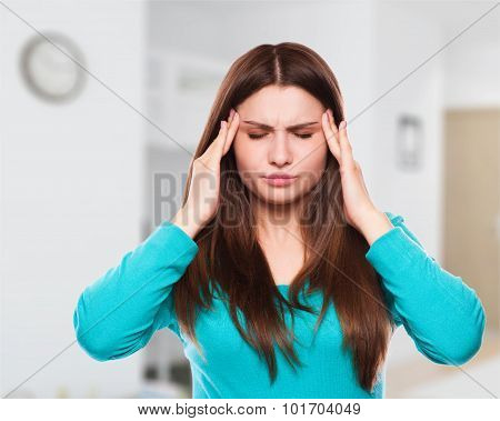 Woman With Headache, Migraine, Stress, Insomnia, Hangover