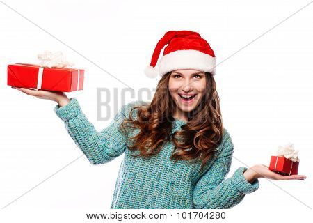 Young happy woman with a gift. Isilated