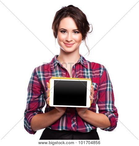 Tablet Computer. Woman Using Digital Tablet Computer Pc Happy Isolated On White Background.