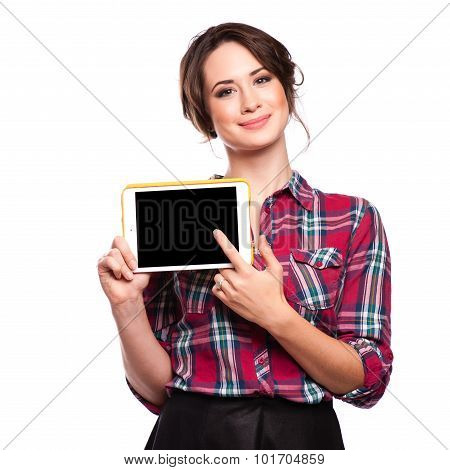 Happy Smiling Beautiful Young Woman Showing Blank Tablet Pc For Copyspace, Isolated Over White Backg