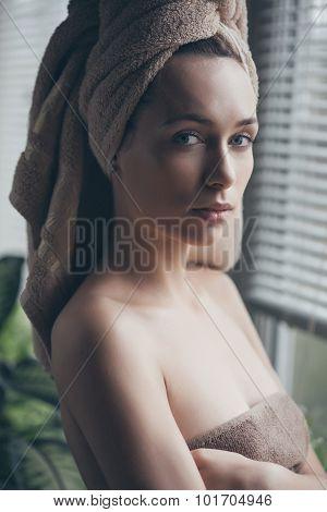 Portrait Of Young Beautiful Woman In Bathrobe