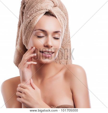 Spa skin care beauty woman wearing hair towel after beauty treatment. Beautiful multiracial young wo