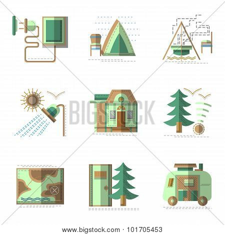 Camping flat color vector icons set