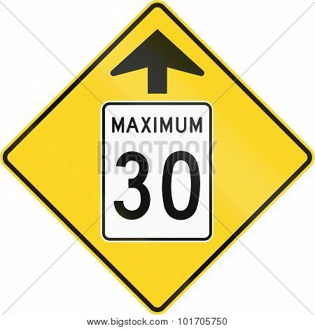Speed Limit 30 Ahead In Canada