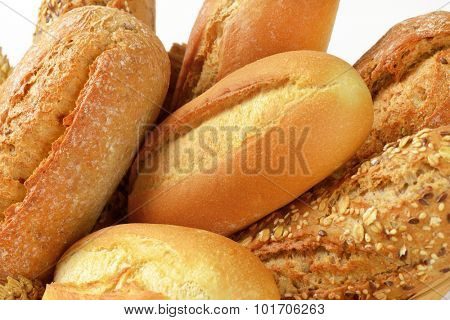 detail of various bread rolls and buns