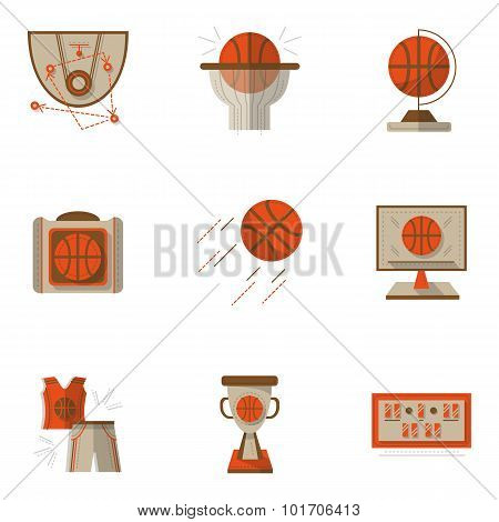 Colored basketball flat vector icons set