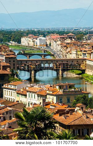 Bridge Ponte Vecchio in Florence Italy. Aero view