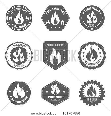 Fire shop emblems icons set black