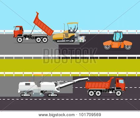 Heavy machinery is involved in the construction of the road. Roadwork. Vector illustration