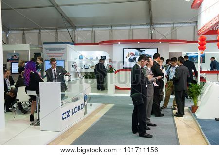 MOSCOW - SEPTEMBER, 02: People attend V Anniversary International Railway Show Engineering and Technology EXPO 1520 on September 02, 2015 in Moscow