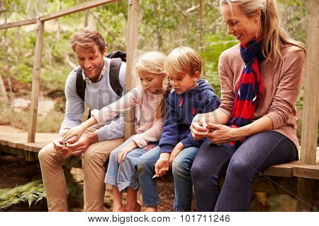 Happy family playing on a wooden bridge in a forest