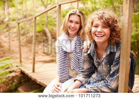 Siblings sitting on a wooden bridge in a forest, portrait